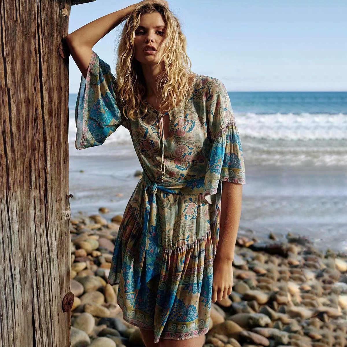 42533a047697 Jastie Gypsy Oasis Mini Dress Drop Waist Ruffle Hem Boho Beach Dresses  Pleated Sleeve Casual Women