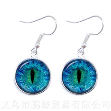 2018 New Classic Charming Green Eyes Evil Eye Earrings Beautiful Animal Dragon Cats Eye 16mm Glass Cabochon Drop For Friends(China)