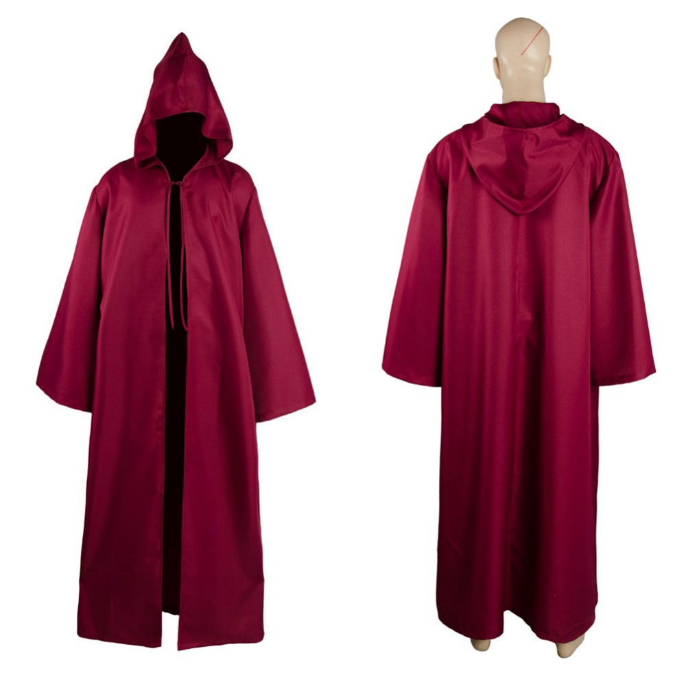 Star Wars Cosplay Jedi Sith tunic Hooded Costume White Green Blue Winered Robe Cloak only Cape Hoodie Halloween Carnival Costume