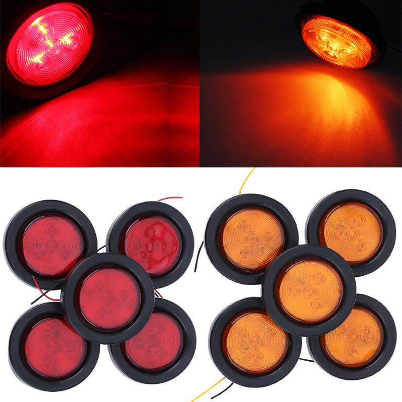 5pcs 4x LED Truck Trailer Side Marker Clearance Lights HIgh Quality for Universal Cars Light Lamp 2 Color Red Yellow 2.5inch 12V 2pcs car waterproof side marker light truck clearance lights trailer 3 led warning lamp bulb 12v