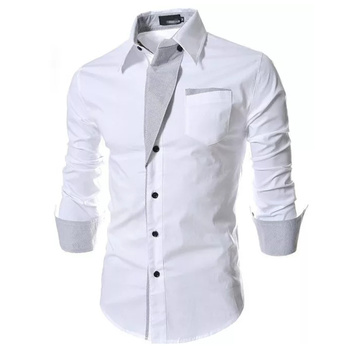 Dropping Casual Shirt Men Solid Slim Fit Turn-down Collar Shirts Patchwork Single Breasted Male Shirt