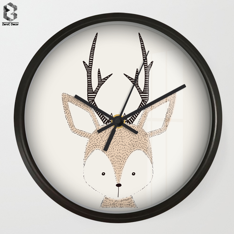 Chic Art Wall Clock Cartoon Deer For Kids Room Wall Decor Nursery