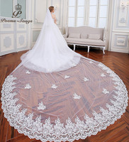PoemsSongs 2018 New Style High Quality Beautiful Flowers Lace Wedding Dress Veil About 5M Lace