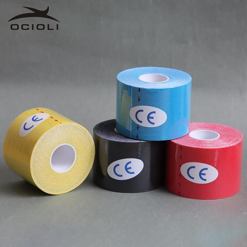 4 Rotolo 5 cm X 5 m Sport Nastro Kinesiologia Kinesio Rotolo Cotone Elastico Adesivo Muscolo Fasciatura Strain Injury Supporto calcio