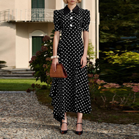 High Quality 2019 Spring Summer Runway Dress Women Vintage Diamonds Polka Dot Maxi Dress Female Elegant Irregular Dresses