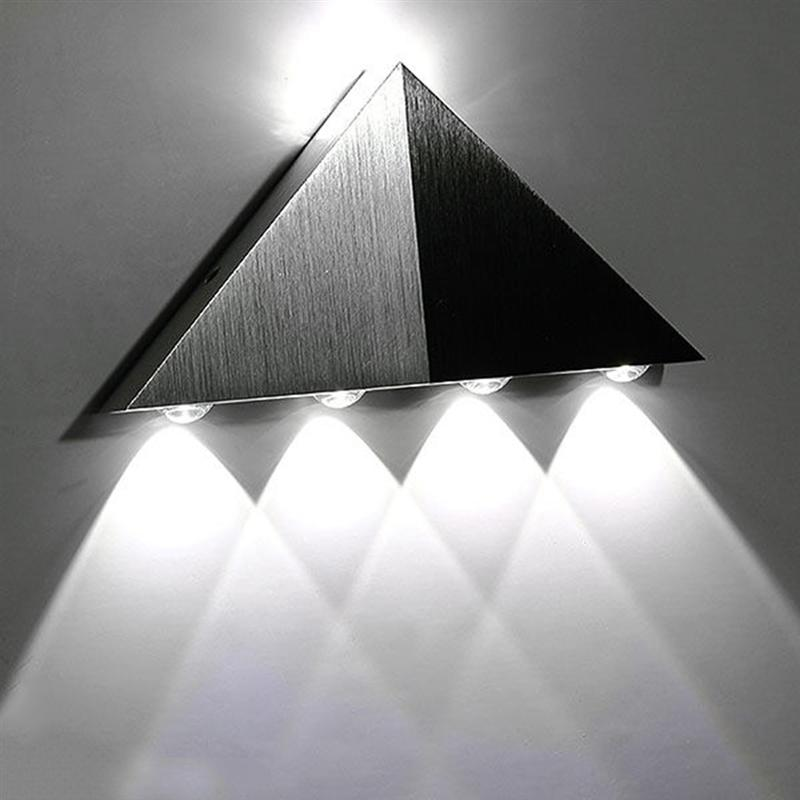 AC 90-265V 5W Stainless Steel Triangle LED Wall Light Lamp (White)
