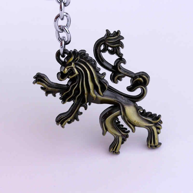 Game of Thrones Casa Lannister Hear Me Roar chaveiro Leão 3D 2 Cores Accesssory presente chave titular anel Da Jóia Dos Homens