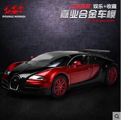 Двойные Лошади Bugatti Veyron 1:32 Оригинальный сплав модель автомобиля свет и звук вытяните назад Суперкар W16 Малыш Игрушки бесплатная доставка VB32041