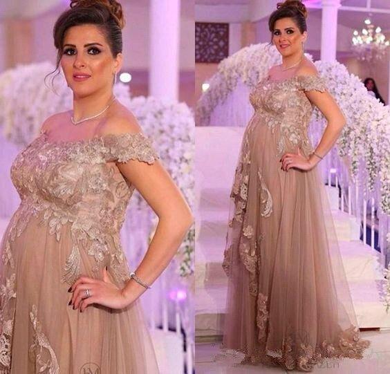 Off the Shoulder vestido de madrinha Mother of Bride Dresses Lace Applique Pregnant woman Formal Party Weddings Evening Gowns