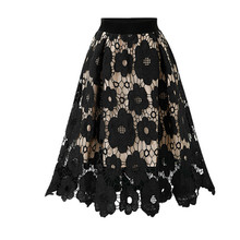 Ladies Skirt Casual Fashion Flower Print Trend European and American Style Lace Personality Cutout Summer Skirt#D1