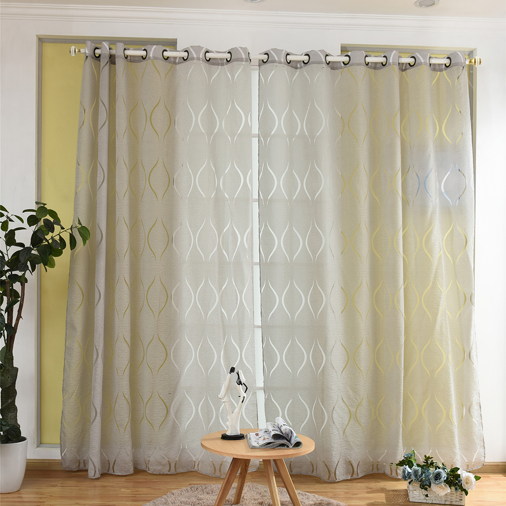Waves Window Curtain Sheer Divider Panel Semi-blackout Window Blinds Office Living Room Bedroom Drapes 100*200/250