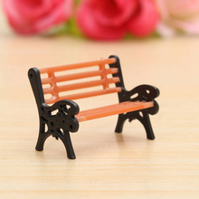1 Pc Resin Crafts Modern Park Benches Miniature Fairy Garden Miniatures Accessories Toys for Doll House Courtyard Decoration