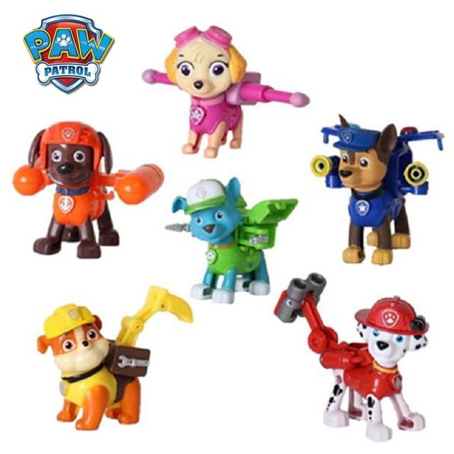 6 pcs cão Pata Patrulha canina Patrulha Brinquedos Figurine do Anime Figura de Ação Brinquedo modelo de Plástico Crianças brinquedos Presentes