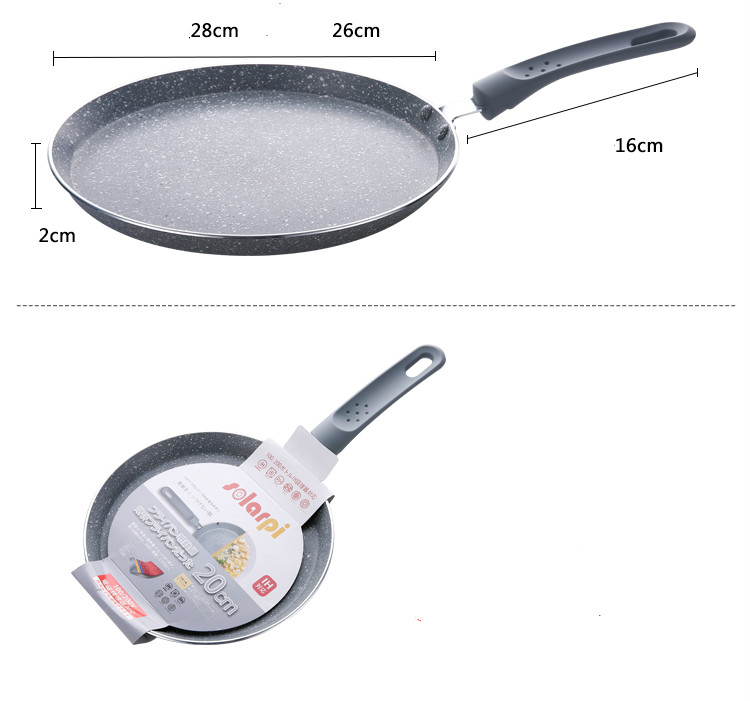 18cm 22cm 26CM 10 inch Smoke-free Ceramic stone layer Fry Pan Non Stick Skillet Omelet Pan Al-Mn alloy Bottom Cooking Pan