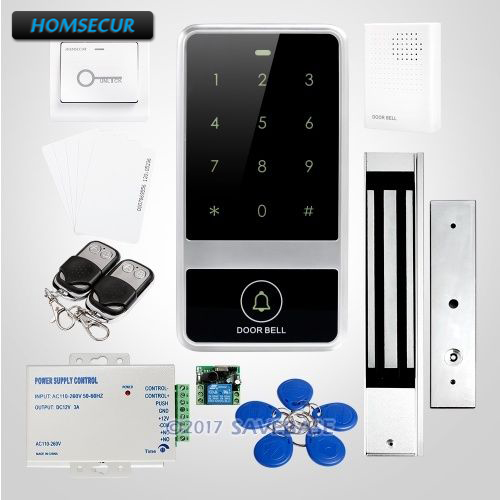 HOMSECUR 125Khz RFID Access Control System+Backlight ID Access Control System With Waterproof 280KG Magnetic Lock цена