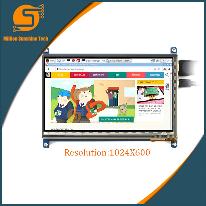 7 Inch Raspberry Pi 2/3 LCD Display Touch Screen 7inch 1024X600 HDMI LCD (B)  Free Shipping