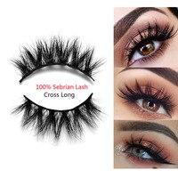 1Pair Luxurious 100% Siberian Mink Hair False Eyelashes Full Strip 3D Thick Cross Long Fake Eye Lashes Extension Makeup Tools False Eyelashes