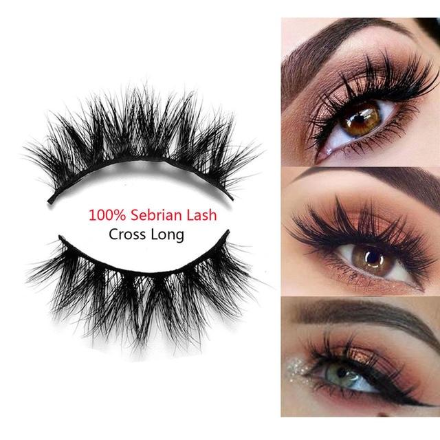 ab5cbd3a53e 1Pair Luxurious 100% Siberian Mink Hair False Eyelashes Full Strip 3D Thick  Cross Long Fake Eye Lashes Extension Makeup Tools