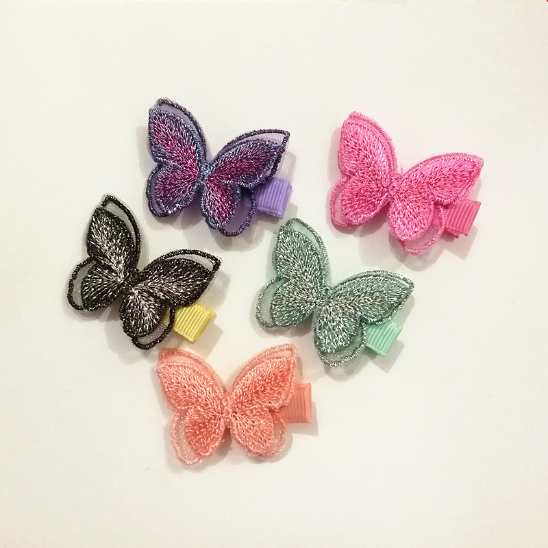 20pcs Embroidery Modish Girls Hair Clips Animals Double Layer Butterfly Hairpin Cute Girls Hairpin 3.5cm Barrettes Lovely Clips