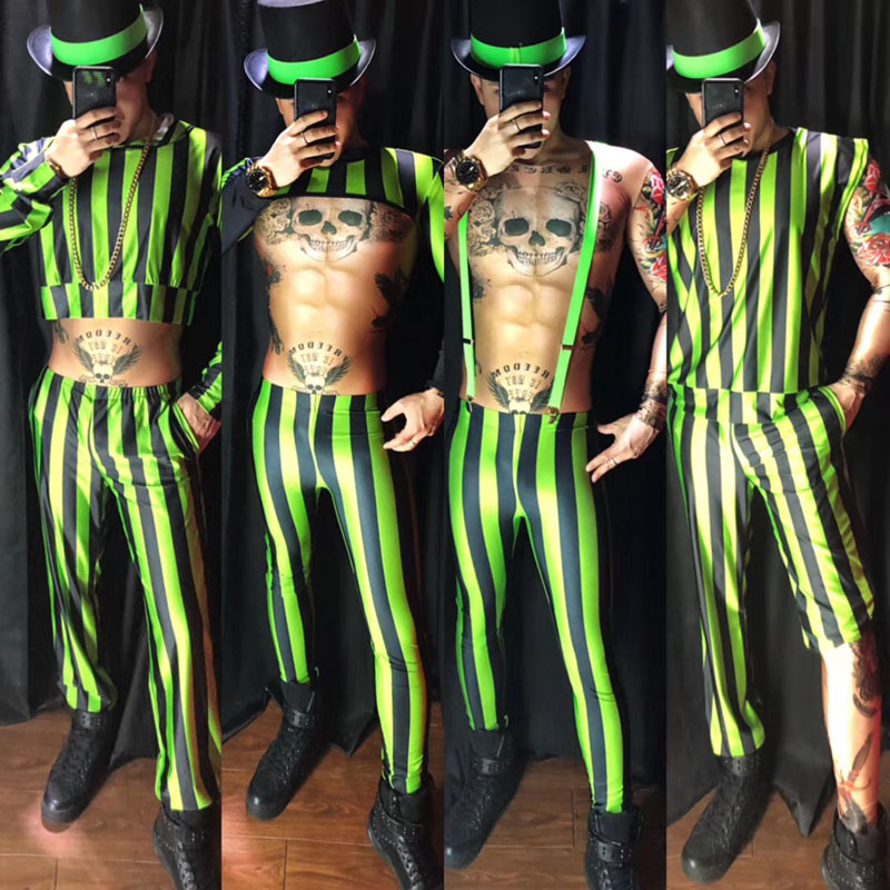 Novelty Fluorescent Green Stripe Sexy Costumes Suit Bars Nightclubs Male Singer DJ DS Stage Wear Performance Dance Clothes