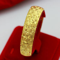 Vintage Retro Hand Carved Stars Bangle For Women 18k Real Yellow Gold Filled 15mm Wide Cuff