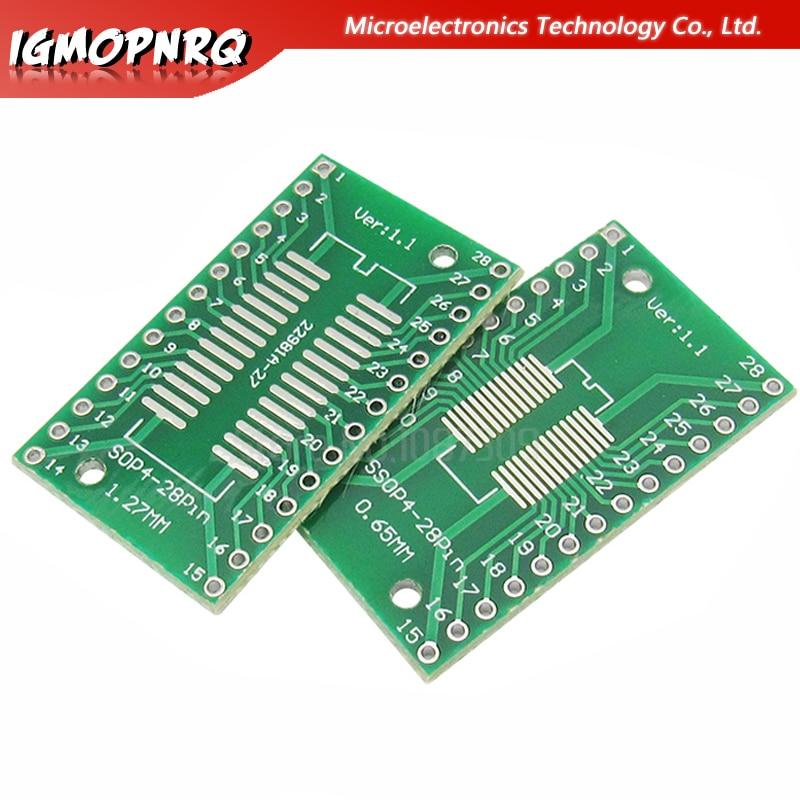 10 шт., адаптер SSOP28 SOP28 TSSOP28 в DIP28, плата PCB, 0,65 мм, 1,27 мм