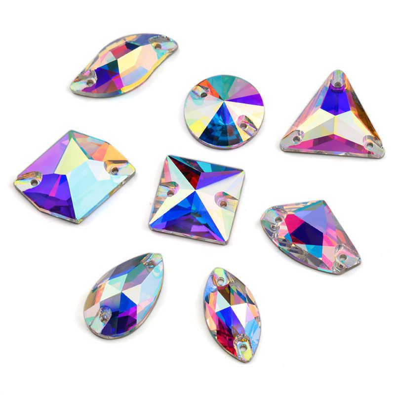Terbaik Penjual 8 Jenis AAAAA Boutique Kristal AB Menjahit Manik-manik Berlian Imitasi, Manik-manik Menjahit untuk Membuat Gaun Perhiasan Dekorasi