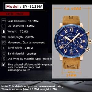 Image 2 - BENYAR 2019 модные спортивные мужские часы с хронографом, лучший бренд, Роскошные водонепроницаемые военные кварцевые часы, мужские часы