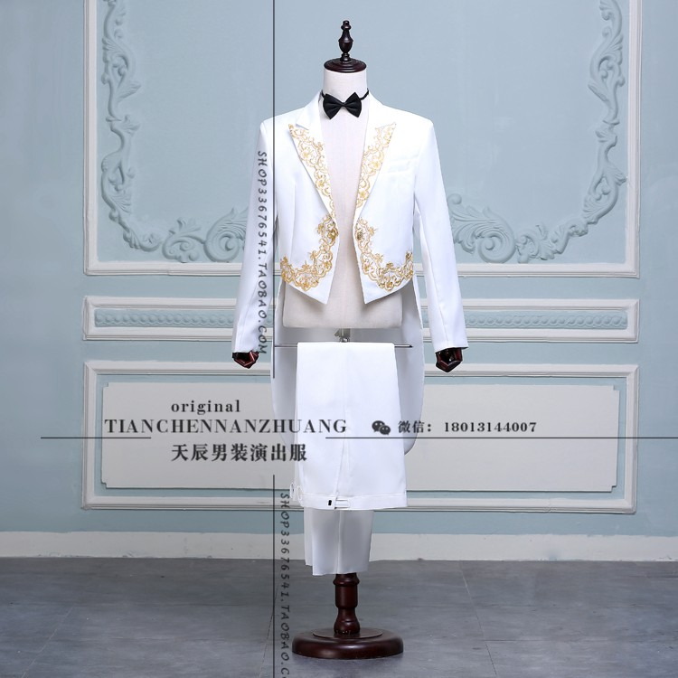 Fashion Tailcoat Suits Mens Embroidery Gold Red Black White Blazers ...