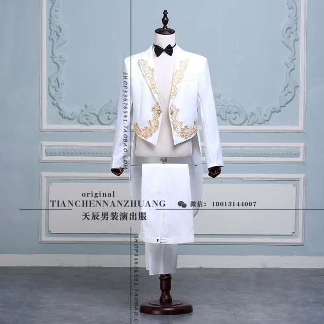 Online Shop Fashion Tailcoat Suits Mens Embroidery Gold Red Black