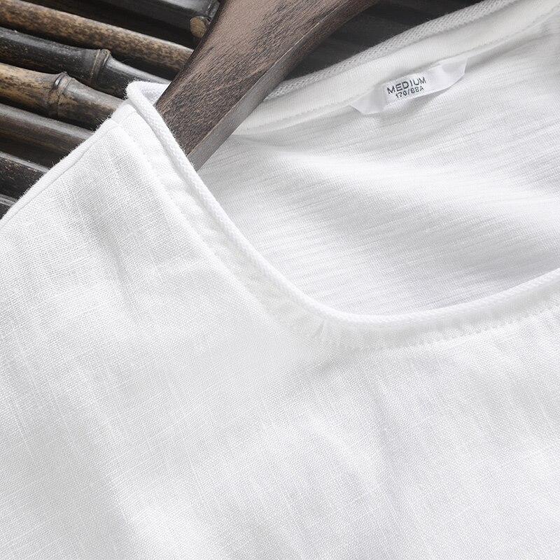 2017 Ketibaan baru kreatif Jepun linen t-shirt lelaki musim panas - Pakaian lelaki - Foto 3