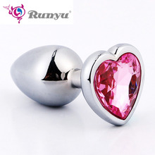 Small/Large Metal Anal Plug With Crystal Jewelry Anal Beads Smooth Touch Rhinestone Butt Plug No Vibration Sex Toy For Women Men small medium large silicone butt plug with crystal jewelry smooth touch anal plug no vibration anal sex toys for woman men gay