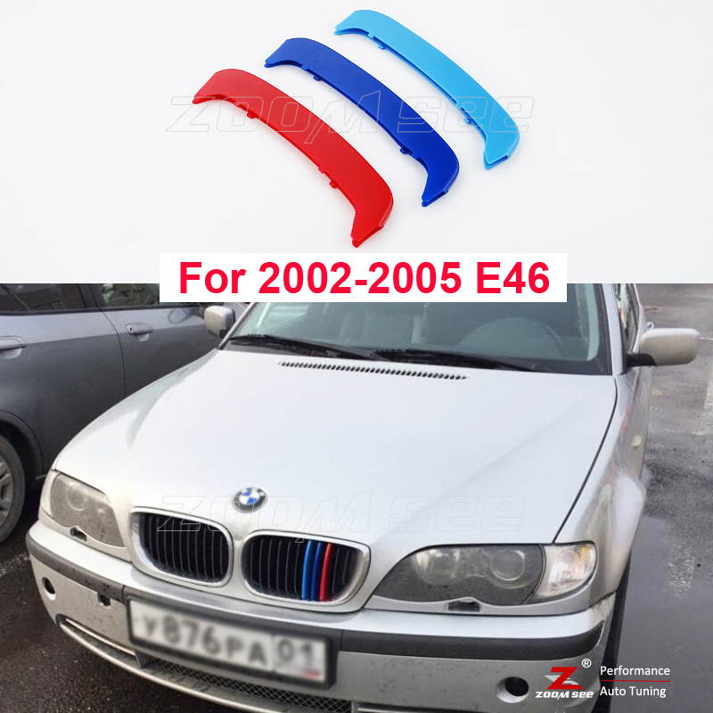 3D M Front Grille Trim Strips grill Cover Stickers for 2002-2005 BMW E46 316i 318i 320i 325i 328i 330i 323i 4 Door ONLY полуось на bmw 316i в беларуси