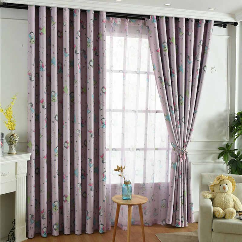 Cute cartoon custom purple shading cloth curtains for living room windows dining bedroom children room princess castle