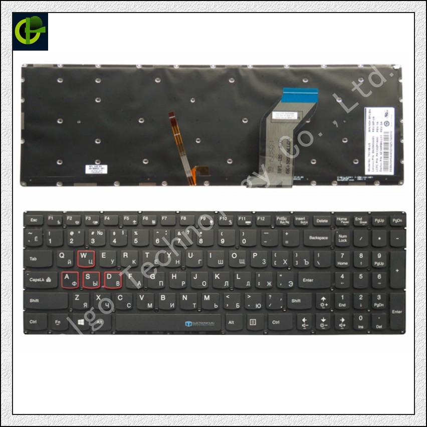 Russian Backlit Keyboard for Lenovo Ideapad Y700 Y700-15 Y700-15ISK Y700-15ACZ Y700-17ISK 9Z.N8RBN.L0R SN20H54254 PK130ZF1A30 RU gzeele new palmrest for lenovo ideapad y700 y700 15 y700 15isk y700 15acz keyboard with backlit bezel upper cover touchpad us