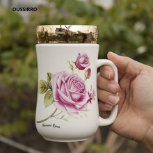 OUSSIRRO 450M Creative Ceramic Cup with Lid Bright Glaze Sealed Hand Letter Milk Tea Mug