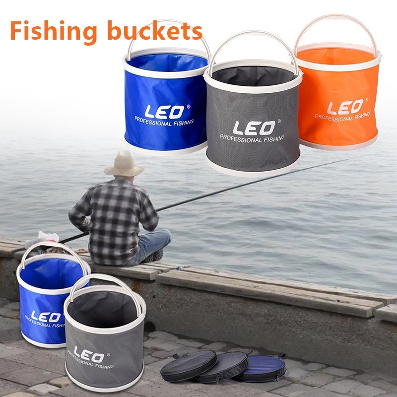Outdoor Bucket Lightweight Canvas Folding Bucket Portable Camping Hiking Fishing Bucket Fishing Tackle Tools 3 Colors