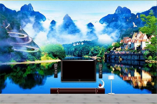 Living In The Mountains custom photo non woven mural 3d wallpapers for living room nature