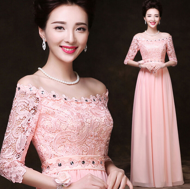 Robe de mariage rosa claro pastel de manga larga fuera del hombro ...