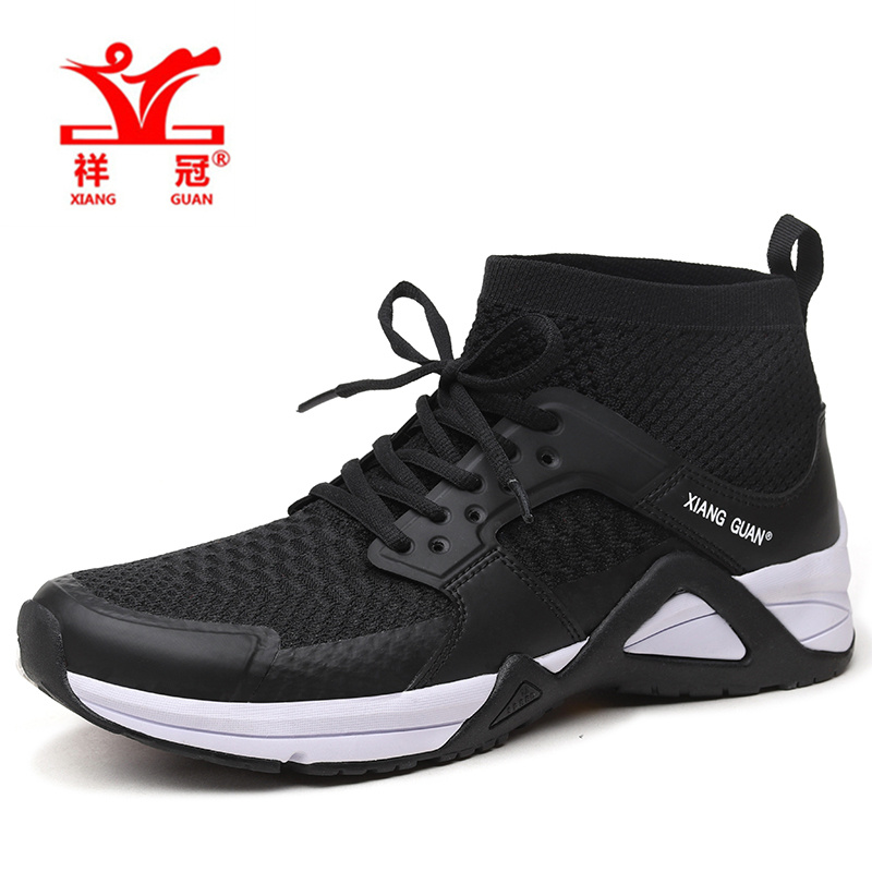 XIANG GUAN Man Running Shoes  Athletic High Cut Mesh Breathable Outdoor man Sneakers Light Black White Sport Shoes EUR 39-45 kelme children white black smooth soccer shoes pu broken nail outdoor running sneakers k15s936