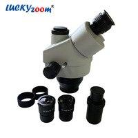 Luckyzoom Brand Professional 7X 45X Trinocular Zoom Stereo Microscope Head Set Microscopio Accessories On Sale