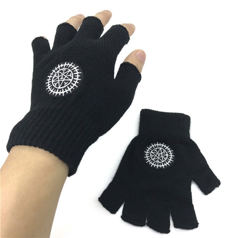 Trend Unisex Gloves Fingerless Anime Black Butler Ciel Contract Pentacle Knitted Glove Winter Warm Wrist Mittens Cosplay Gift