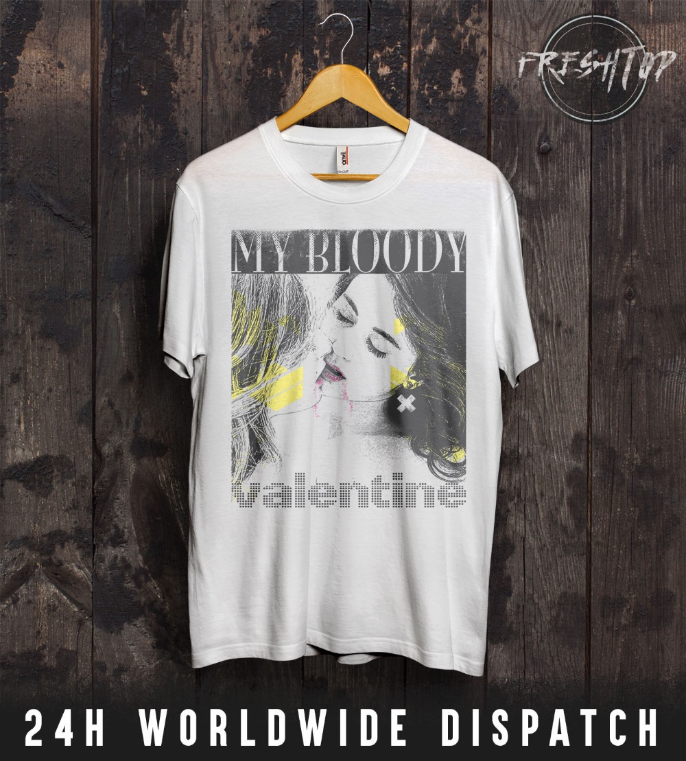 c7968ce187ef1 US $12.34 5% OFF|2019 Fashion Hot My Bloody Valentine T Shirt Valentines  Day Bilinda Butcher Lesbians Kissing LGBT Tee shirt-in T-Shirts from Men's  ...