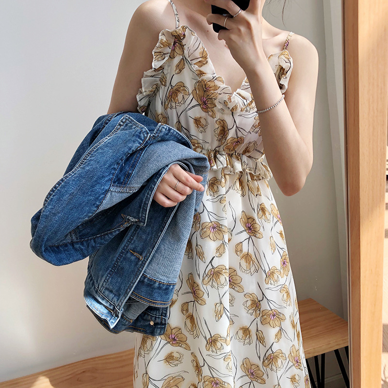 Summer Chiffon Dress Women Sexy V Neck Blackless Printed Boho Beach Dress Vintage Ruffles Spagtetti Strap A Line Party Dress in Dresses from Women 39 s Clothing