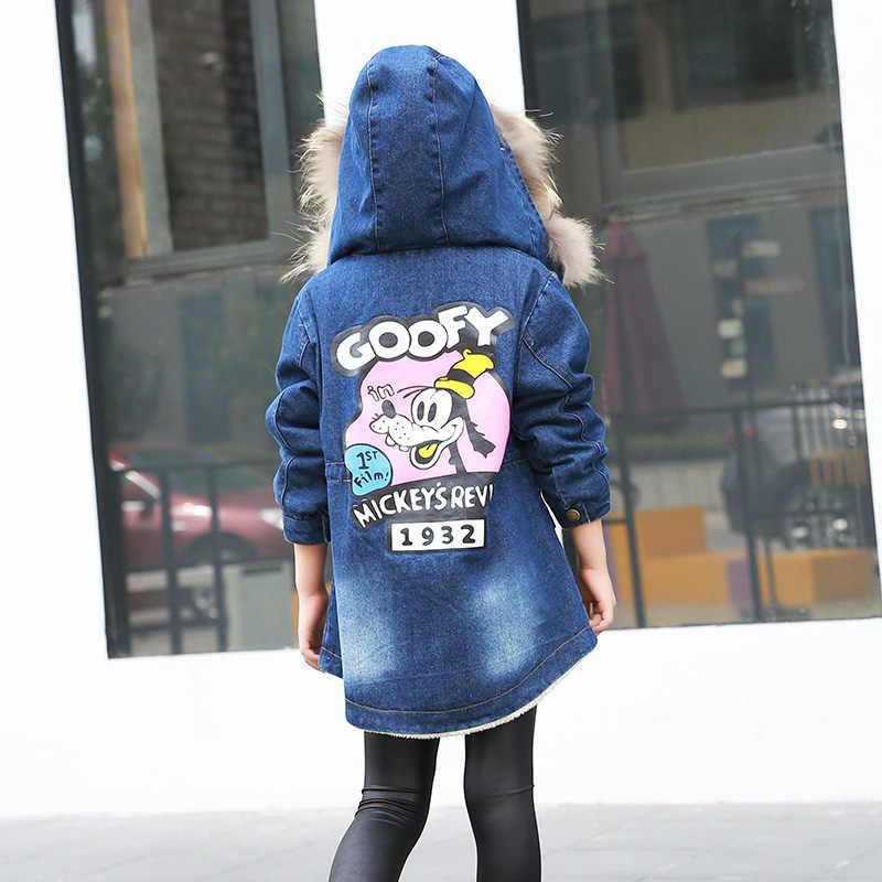 2016 niños de estilo medio-largo ropa de invierno ropa de abrigo jean con capucha de piel abrigo de niñas chaqueta niños tela de impresión