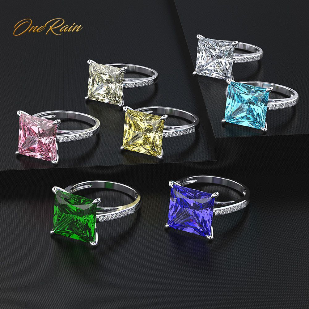OneRain Classic 100% 925 Sterling Silver Square Emerald Gemstone Birthstone Wedding Couple Rings Jewelry Gifts Wholesale 5-12