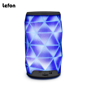 Lefon Bluetooth Speaker LED Diamond Shape Portable Wireless Speaker Subwoofer Column Bass Support TF Card color auto-Changing