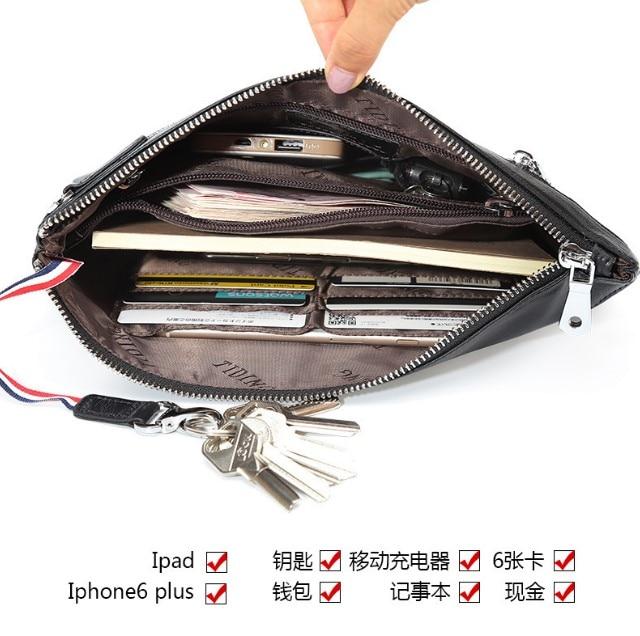 Mannen Clutch Bag Koe Lederen Handtas Telefoon Geld Bag Real Leather Lange Walllet Business Mannen Koppelingen Purse Luxe Lange Clutch tassen - 5