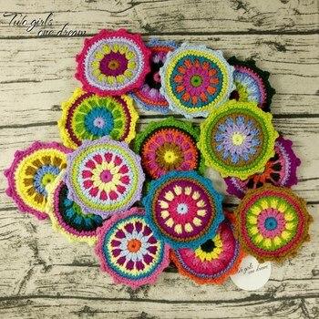 Original DIY  Multicolor Crochet Coaster Handmade Crochet Doilies Table Placemat Decor Doily Clothes Wool Accessories 12cm 30pcs