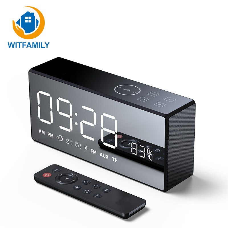 LED Digital Display Table Alarm Clocks FM Radio Smart Mini Subwoofer Stereo with Remote Control Wireless